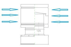 Terminale a botte antivento con base quadra